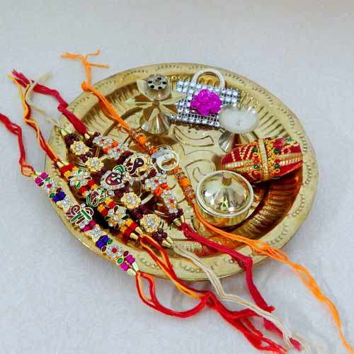 Rakhi Set of 5 Rakhis with Brass Puja Thali - 23 - UK Only