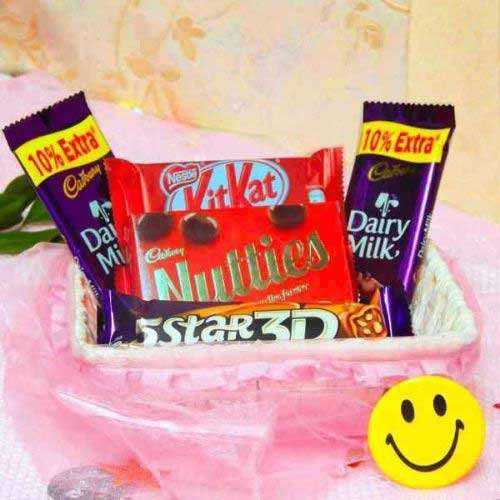 Combo Of 5 Chocolates with Fancy Basket - USA Delivery Only