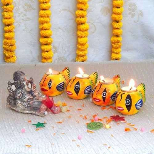 Lord Ganesh With Diya - Canada Delivery Only