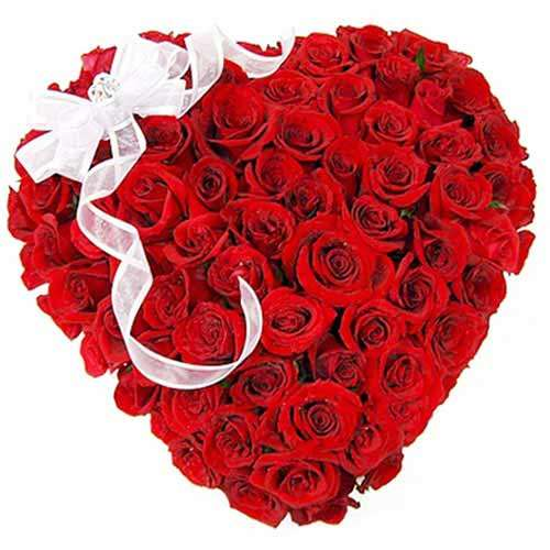 Heart Shape Red Roses - India Delivery Only