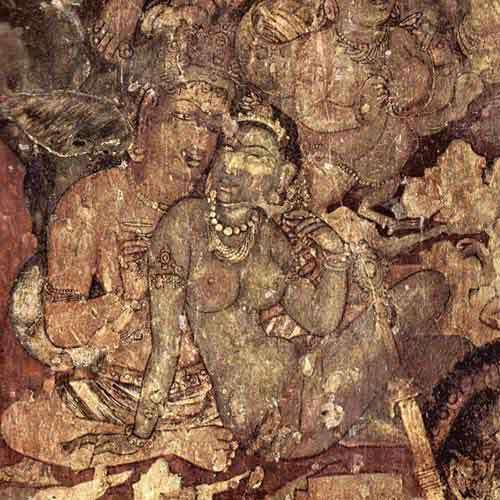 Golden Cave Painting On Ajanta  Caves