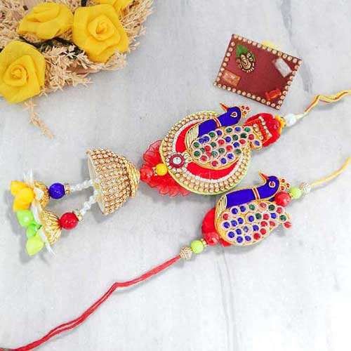 Peacock Rakhi Lumba Set - USA Delivery Only