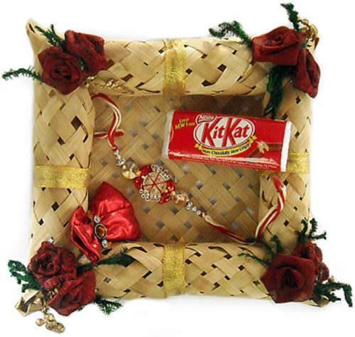Cane Rakhi Puja Thali  - India To Canada Delivery