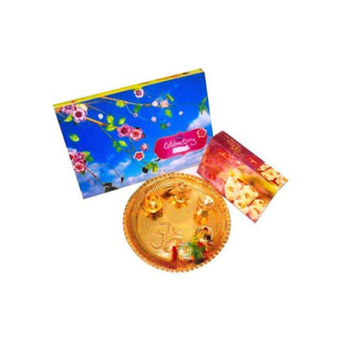 Brass Puja Thali With Saonpapdi & Celebrations -  Australia