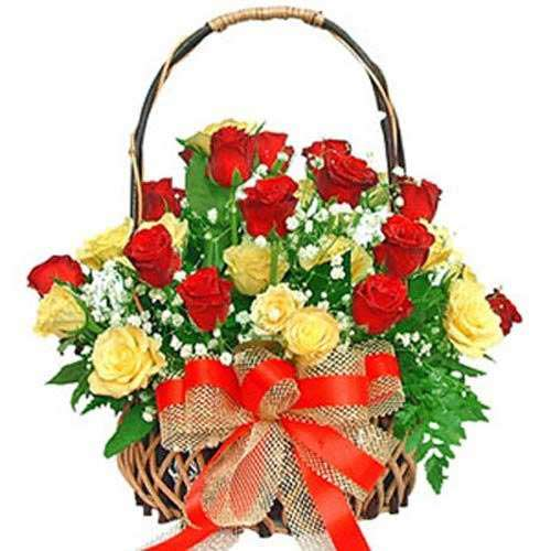 Red And Yellow Rose Basket
