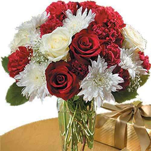 Red And White Bouquet - Bahrain Delivery Only